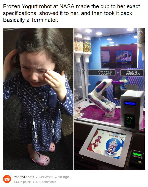 Робот-мороженщик из NASA обидел четырехлетнюю девочку